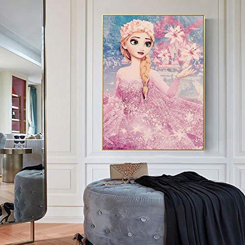 5D diy diamond painting, DIY Diamond Painting full drill Crystal diamond Embroidery Paintings Arts cross stitch kit for home wall decoration, 30 x 40cm, princess