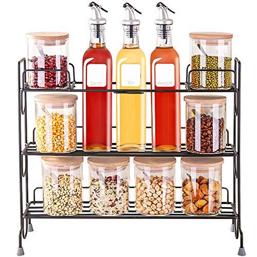 JANSUDY Huishoudelijke Glas Olie Pot, Verzegelde blik, met Spice Rack, Gebruikt om Olie/Soja Saus/Kip/Zout/Peper