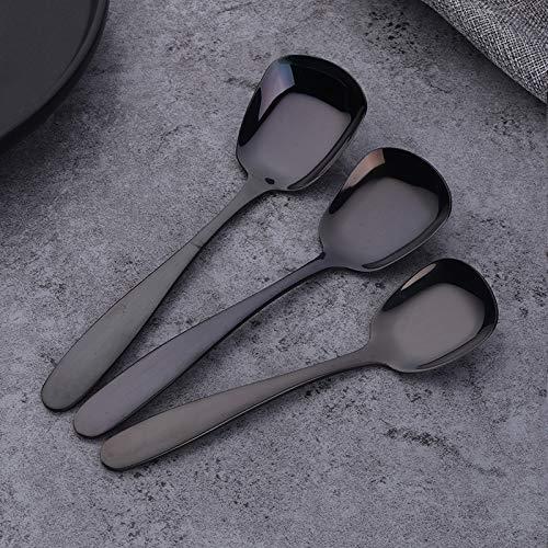 Cuillère plate en acier inoxydable, 3 pièces Choix de plusieurs couleurs, noir