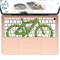 igsticker MacBook Air 13inch 2018 専用 キーボード用スキンシール キートップ ステッカー A1932 Apple マックブック エア ノートパソコン アクセサリー 保護 014901 自転車 葉っぱ シルエット