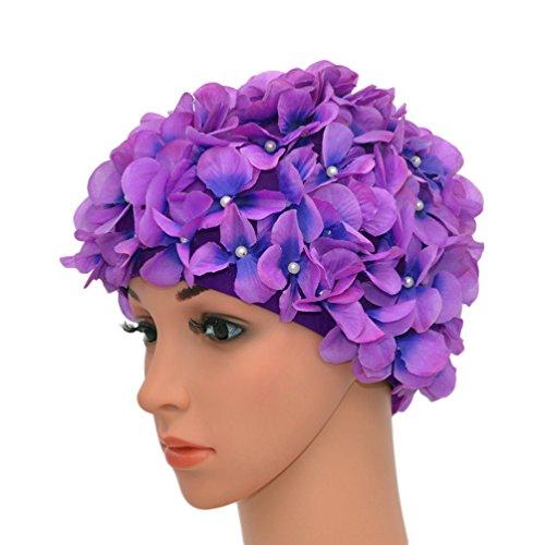 Medifier - Cappellini da bagno vintage con petali floreali, colore: viola
