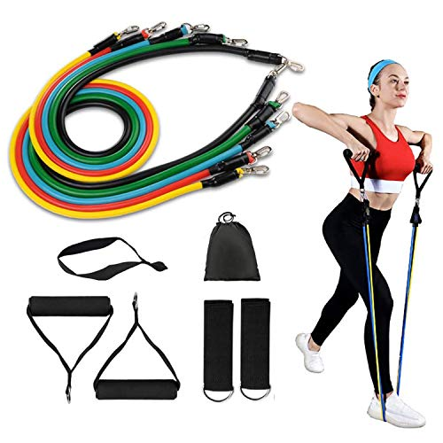 Resistance Bands Set(11 Pack),Including 5 Stackable Exercise Bands with Door Anchor,2 Foam Handle,2 Metal Foot Ring & Carrying Case - Home Workouts,Physical Therapy,Gym Training,Yoga