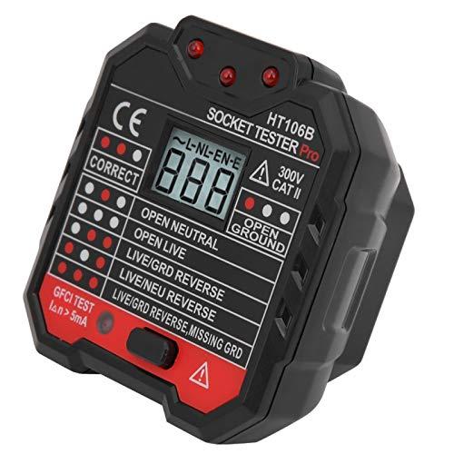Plástico 3 indicadores de prueba Digital Display Tester Socket AC48-250V Comprobador de fallas para detectar línea nula para laboratorios (regulación británica)