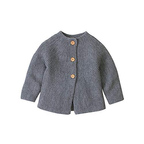 Suéter de manga larga para bebé, recién nacido, para niños y niñas, para otoño e invierno, ropa de punto cálida para niños, ropa casual B-grey 0-3 Meses
