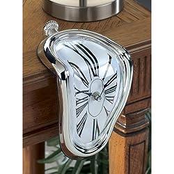 Novelty Creative Modern Melting Clock Melted Illusion Warp Clock Sits on Shelf Funny Creative Home Room Decor Silver