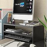Soporte para monitor de madera, 2 niveles de madera, soporte elevador de monitor ergonómico de escritorio para ordenador, portátil, soporte de impresora negro (54 x 23,5 x 14 cm)