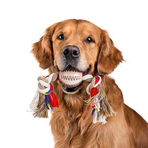 Nobleza - Cuerda de Juguete para Perros 100% algodón, beneficiosa para la Salud Mental del Perro, la Salud Dental y la Limpieza de los Dientes, Tipo de Perros, Beige y marrón - 32cm