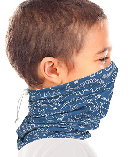 Kid's Organic Cotton Adjustable Neck Gaiter. Filter Pocket. Fits 5-14 Yrs (Navy Dinosaur)