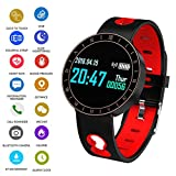 EJOLG IP67 Waterproof Fitness Trackers Smart Watch,with Heart Monitor and Blood Pressure Step Counter Pedometer,etc Multifunctional Watch,Support Multiple national languages Mens Womens Unisex,B