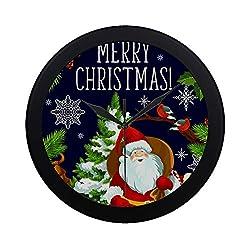 NQEONR Modern Simple Christmas Tree Santa Greeting Card New Wall Clock Indoor Non-Ticking Silent Quartz Quiet Sweep Movement Wall Clcok for Office,Bathroom,livingroom Decorative 9.65 Inch