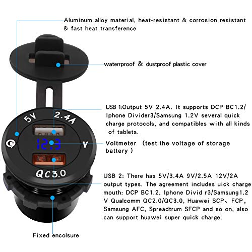 Azul iPad Tabletas Samoleus Cargador de Coche Dual Quick Charge 3.0 Puerto Cargador USB M/óvil para Tel/éfonos M/óviles Navegaci/ón y GPS Motocicletas Barcos