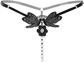 Women's Lace Thong Sexy Lingerie Open Crotch Pearls G-Strings Funny Underwear Hollow Pearl Massage Butterfly with Flower Women Sexy Underwear Transparent Panties (RW2146)