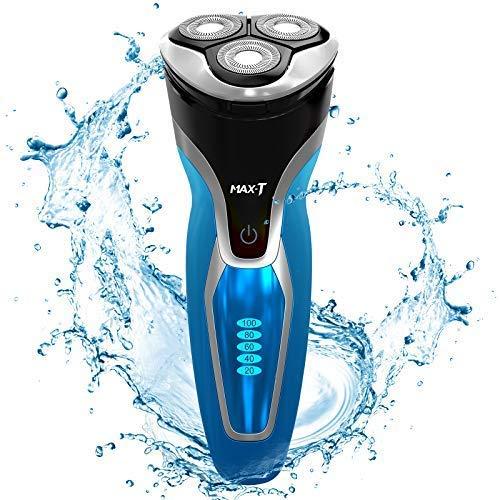 MAX-T Rasierer Herren Elektrisch Nass und Trocken, 3D ProSkin IPX7 Wasserdicht Elektrorasierer mit Pop-up Präzisionstrimmer, Wiederaufladbarer und Kabelloser Elektrischer Rasierer, Schwarz/Blau