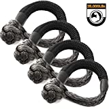 Kohree Synthetic Soft Shackle,7/16 Inch X 20 Inch (35,000lbs Breaking Strength) UHMWPE Soft Shackle Recovery Rope with Protective Sleeve for Sailing 4X4 Truck Jeep Recovery Climbing Towing (4 Pack)
