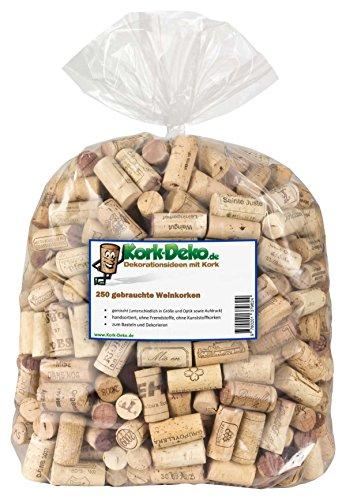250 gebrauchte Weinkorken (Wein Korken Flaschenkorken) - Naturkorken Kork, ideal zum Basteln und Dekorieren