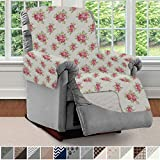 Sofa Shield Original Patent Pending Reversible Large Recliner Protector, Seat Width to 28 Inch, Furniture Slipcover, 2 Inch Strap, Chair Slip Cover Throw for Pets, Recliner, Shabby Rose Linen