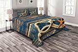 ABAKUHAUS maritim Tagesdecke Set, Seil & Seesterne Holz, Set mit Kissenbezügen Waschbar, für Doppelbetten 220 x 220 cm, Bernstein Nachtblau