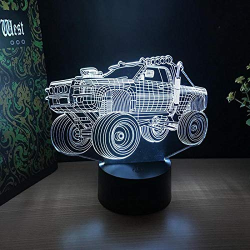 Only 1 Piece Off-Road Vehicle 3 d Lights Gifts Crafts Acrylic Night Lights Birthday Gifts Ambience 7 Color Change 3D USB Desk Lamps