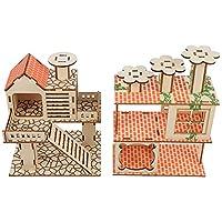 LEDMOMO 2個木製大型ハムスター小屋遊び場プラットフォーム活動のおもちゃはしごブリッジチンチラスナネズミ小動物小型のペット