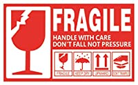 creve FRAGILE フラジール ビッグサイズ 防水 光沢 15cm×9cm ステッカー シール ラベル こわれもの 取扱注意 スーツケース デコレーション (10枚)