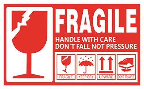 creve FRAGILE フラジール ビッグサイズ 防水 光沢 15cm×9cm ステッカー シール ラベル こわれもの 取扱注意 スーツケース デコレーション (5枚)