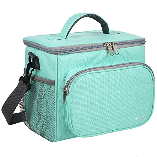 Insulated Reusable Lunch Bag Adult Large Lunch Box for Women and Men with Adjustable Shoulder Strap,Front Zipper Pocket and Dual Large Mesh Side Pockets by FlowFly,Green
