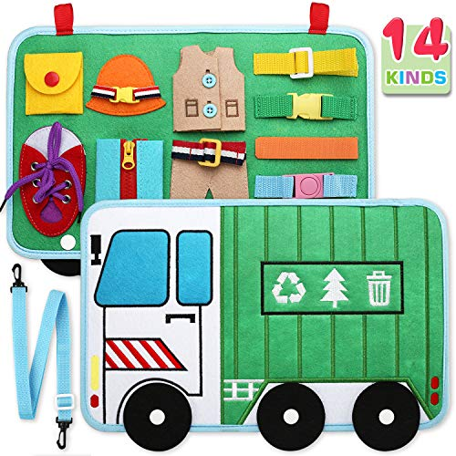 Toddler Busy Board, 14 in 1 Activity Board(Garbage Car Style), Montessori Sensory Toy for Fine Motor Skills, Learning Toy for Airplane or Car Travel, Preschool Educational Gift for Kids Boys Girls