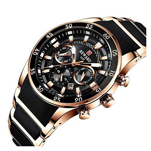JISHIYU Moda Marca Relojes for Hombre Reloj de Lujo Cuarzo Silicone Acero Hombres Cronógrafo Impermeable Deporte Reloj de Pulsera Dropshipping (Color : Black Rose Gold)