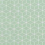 Baumwollstoff Cretonne Kubus – mintgrün — Meterware ab