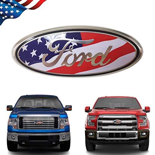 99 Carpro F150 Front Grille Tailgate Emblem for Ford, 9 inch American Flag Oval Decal Badge Nameplate for FORD 2004-2014 F250 F350, 11-14 Edge, 11-16 Explorer, 06-11 Ranger (US Flag Emblem)