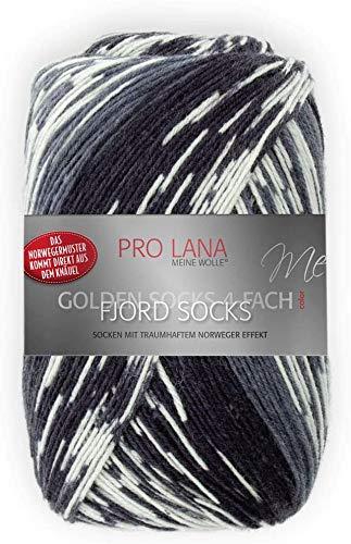 Unbekannt Pro Lana Fjord Socks 4-fädig Color 190 schwarz grau Natur, Sockenwolle Norwegermuster musterbildend
