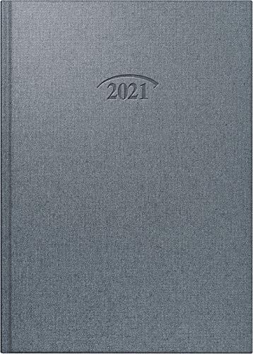 BRUNNEN 1076561921 Buchkalender Modell 765, 1 Seite = 1 Tag, 143 x 202 mm, Bucheinbandstoff Metallico stratossilber, Kalendarium 2021