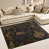 ALAZA Vintage World Map Compass Ship Area Rug Rugs for Living Room Bedroom 5'3'x4'