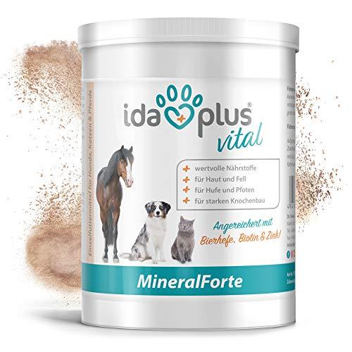Ida Plus – Mineral-Forte 400 g als Pulver – Mineralien für Pferd, Hund & Katze – gut für Fell, Haut, Knochenbau, Zähne & Horn-Struktur - natürlicher Kieselgur angereichert mit Bierhefe, Biotin & Zink