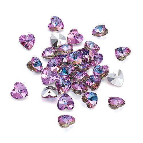 Beadthoven 30 piezas de abalorios de cristal con forma de corazón facetado,...