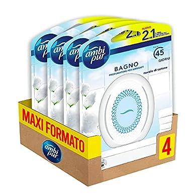 Foto di Ambi Pur Bagno Profumatore per Ambienti Nuvole di Cotone, 4 Confezioni, Con Tecnologia Elimina Odori, Durata fino a 6 Mesi di Profumo