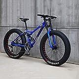 BWJL Bicicleta de montaña, de 26 Pulgadas 7/21/24/27 Velocidad de la Bici de la Bicicleta Estudiantes Hombres Mujeres de Velocidad Variable para Hombre Fat Tire Bicicleta de Montaña,Azul,27-Gang