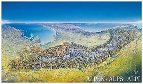 KOMPASS Panorama die Alpen von Norden: von Marseille bis Wien, Alpenpanorama, Poster (KOMPASS-Panoramakarten, Band 349)