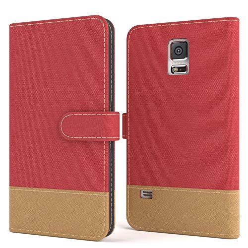 EAZY CASE Tasche für Samsung Galaxy S5/LTE+/Duos/Neo Stoff Schutzhülle mit Standfunktion Klapphülle Bookstyle, Handytasche Handyhülle Flip Cover mit Magnetverschluss & Kartenfach, Kunstleder, Rot