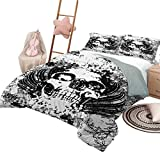 DayDayFun Colcha Juego de colchas Patrón gótico Cubierta de Cama Cráneo Aterrador en boceto de Grunge Tema Muerto Horror Oscuro Evil Imagen de ilustración Tamaño de la Reina Blanco y Negro