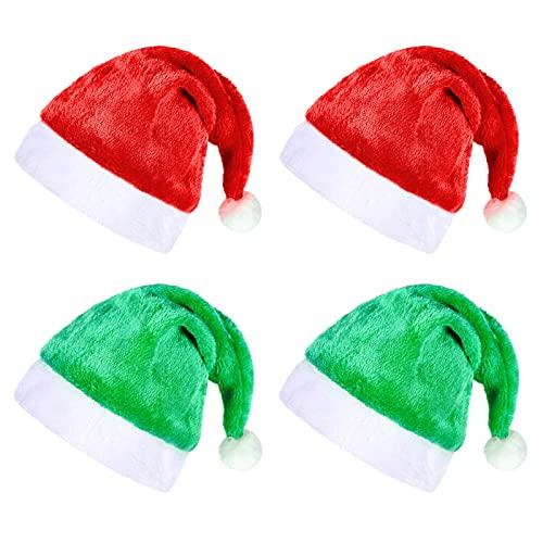 4 Piezas Sombrero de Navidad Gorro de Navideño Sombrero de Santa Claus Gorro de Papá Noel para Adultos Terciopelo Unisex Felpa Piel Clásica Engrosada para Fiesta Suministros de Disfraces,Verde y Rrojo