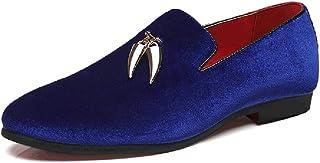 Leather Oxfords for Men Fashion Loafers Pointed Toe Slip on Suede Upper Anti-slip Metal Tassel Solid Color Flat Heel shoes (Color : Blue, Size : 45 EU)