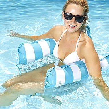Aqua Monterey 4-in-1 Multi-Purpose Inflatable Hammock (Saddle, Lounge Chair, Hammock, Drifter) Portable Pool Float, Light Blue