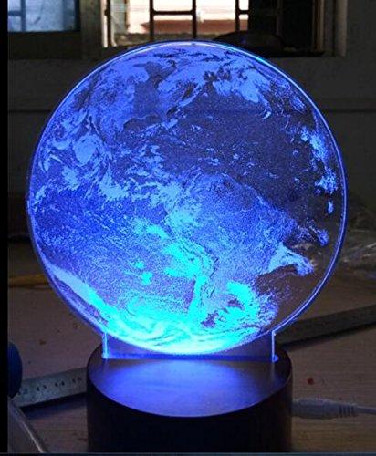 Veilleuse de Table 3D,KINGCOO USB 3D Lune Lampe Optique Illusion Creative Acrylique Panneau Bois Base de Chevet Lampe de Bureau pour le Décor de Noël D'anniversaire Enfants Cadeau (Terre)