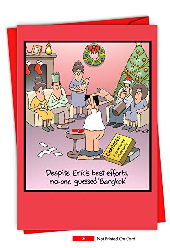 Bangkok Christmas - Adult Humor Merry Christmas Greeting Card with Envelope (4.63 x 6.75 Inch) - Hilarious Xmas Game Night Dirty Jokes, Happy Holidays - Cartoon Family, Stationery Note Card 1689