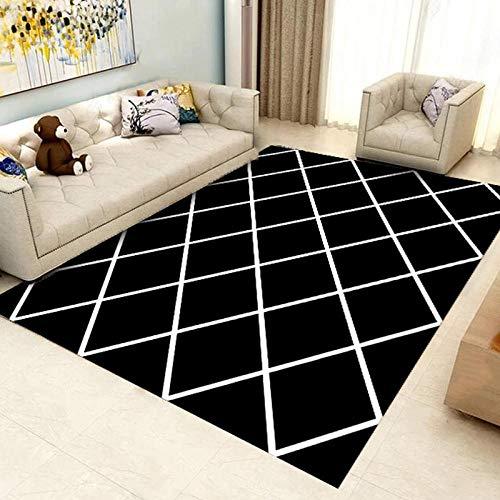HXJHWB Alfombra Pasillo Cocina Diseño - Alfombra de Costura de Diamante Negro Simple de Oficina líneas Blancas Resistencia a Las Manchas de impresión 3D-Los 80CMx120CM