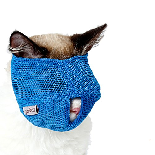 BBEART Cat Muzzles,Breathable Mesh Muzzles Adjustable Cat Mask Mouth Cover Anti Biting and Chewing - Anti Bite Anti Meow (S, Bule)