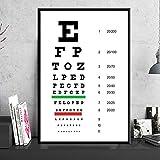 QAZEDC Kunstdruck Leinwanddekoration Malerei Poster und Drucke Hot Modern Eye TestChart Beste Augen Test Angebote Kunst Gemälde Wandbilder für Wohnzimmer Home Decor-40x60cm
