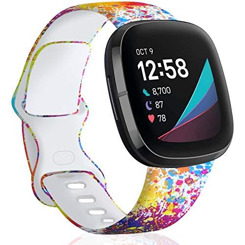 """TopPerfekt Correa Compatible con Fitbit Versa 3/Sense, Correa de Silicona Suave, sin decoloración, Bandas de Repuesto para Mujeres y Hombres pequeños (Tinta Colorida, S: for 5.5"""" - 7.2"""" Wrists)"""