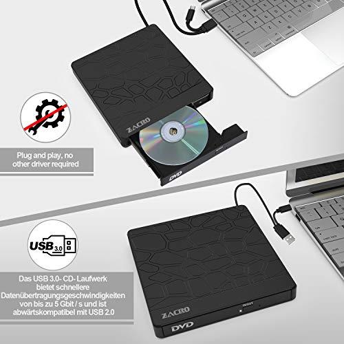 Zacro Externe CD DVD Laufwerk mit USB 3.0 und Type-C,Portable DVD/CD Brenner mit 5 Anschlüssen (2 USB, Micro USB, SD, TF), Rauscharme Ultradünne CD RW/VCD-RW Brenner und Player, Geeignet für Laptop